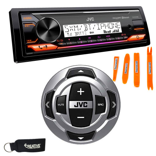 JVC KD-X37MBS Marine Digital Receiver W/ BT, USB, XM Ready, Amazon Alexa + RM-RK62M Wired Marine Remote Control