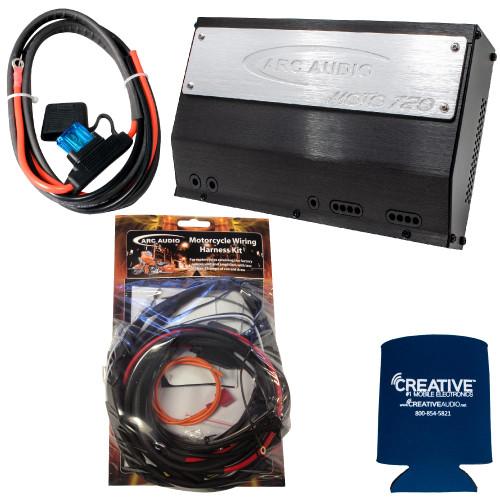 ARC Audio MOTO-720 720 Watt 4 Ch. Amp & Harley Harness Amplifier & Power Wiring Kit Compatible With Harley Davidson