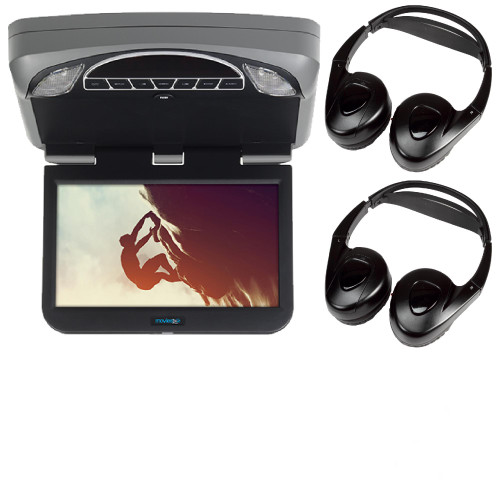 """Audiovox Overhead Mobile Video MTGBAVX10 10.1"""" High Def System with DVD and HDMI with 2 pair of headphones"""