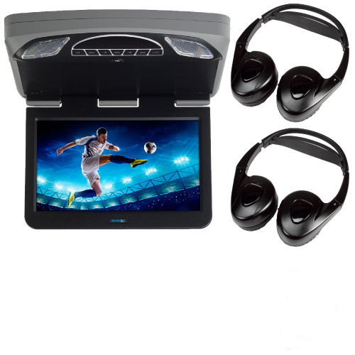 """Audiovox Overhead Mobile Video MTGBAVX13 13.3"""" High Def System with DVD and HDMI with 2 pair of headphones"""
