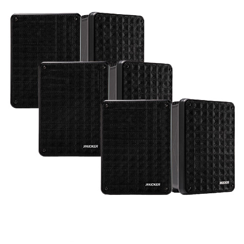 Kicker KB6 Indoor Outdoor Patio Speaker Bundle in Black 6 Speakers total