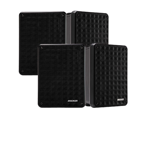 Kicker KB6 Indoor Outdoor Patio Speaker Bundle in Black 4 Speakers total