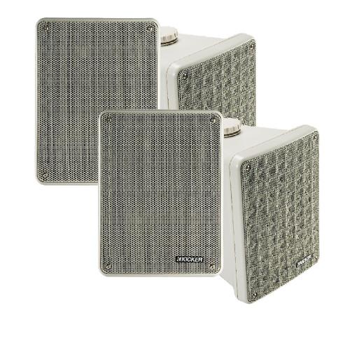 Kicker KB6 Indoor Outdoor Patio Speaker Bundle in Gray- 4 Speakers total