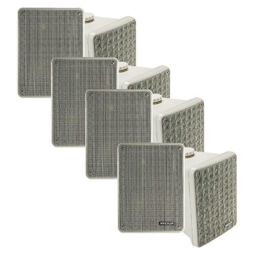 Kicker KB6 Indoor Outdoor Patio Speaker Bundle in Gray- 8 Speakers total