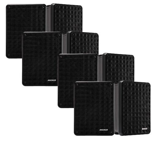 Kicker KB6 Indoor Outdoor Patio Speaker Bundle in Black 8 Speakers total