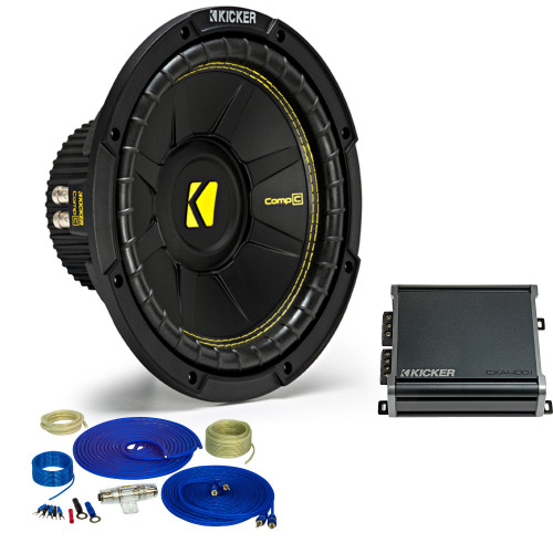 Kicker 10 Inch Bass Bundle - A 44CWCD104 Subwoofer with CXA4001 and amp wire kit