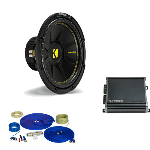 Kicker 12 Inch Bass Bundle - A 44CWCD124 Subwoofer with CXA4001 and amp wire kit