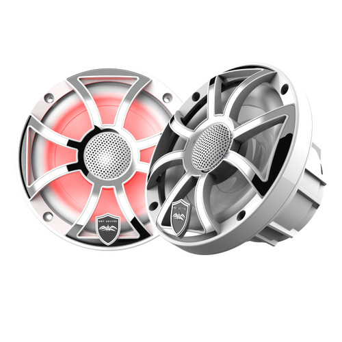 Wet Sounds REVO 6-XSW-SS White XS / Stainless Overlay Grill 6.5 Inch Marine LED Coaxial Speakers (pair) - Used Very Good