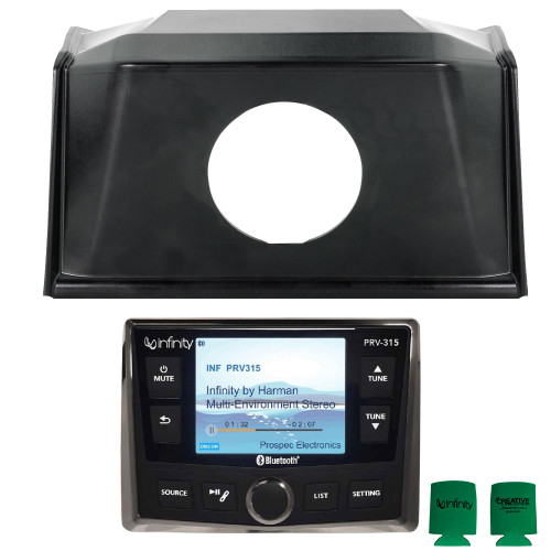 Polaris Bundle- 19+ Polaris RZR SPXRZRDASH2 Radio Mounting Kit and INFINITY PRV-315 Waterproof Radio