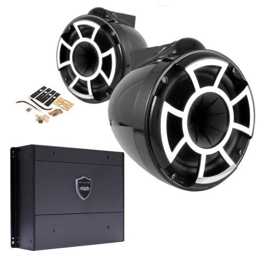 "Wet Sounds REV8B-X 8"" Black Tower Speakers with X-Mounts & SYN-DX2 750 Watt Amplifier"