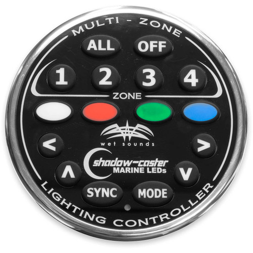 Wet Sounds 4-Zone RGB LED remote for the Wet Sounds WS-4Z-RGB-BB V2