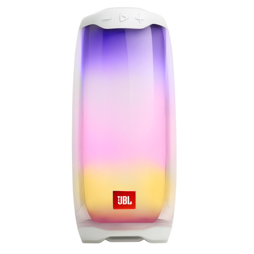 JBL PULSE4 White Waterproof portable Bluetooth speaker with light show and sound