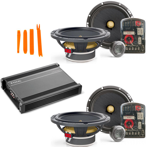 """Focal - Two Pairs of Focal Access 165 YE 6.5"""" 2-Way Component Speakers with Focal AP-4340 class AB 4-Channel amplifier"""