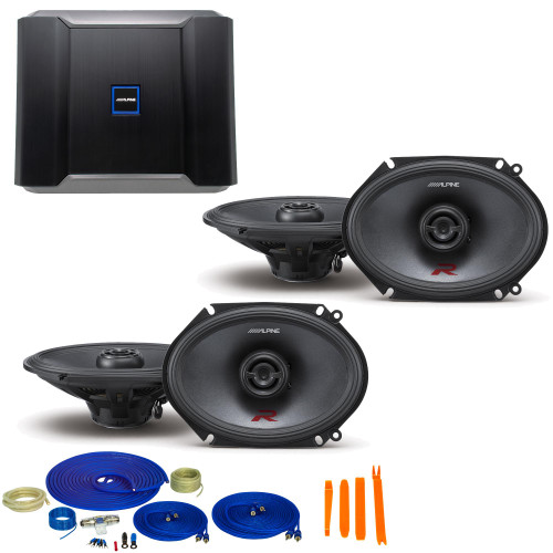 """Alpine Type-R Bundle 2-Pairs R-S68 5x7/6x8"""" Coax speakers with R-A60F 600W 4-Ch Amp and Wiring"""
