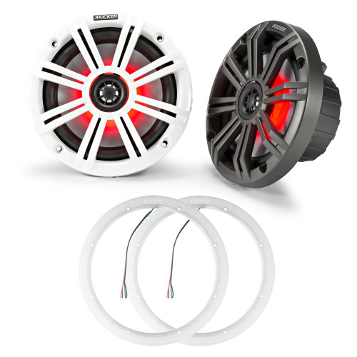 Kicker 45KM84L LED 8 Marine Coax with Charcoal and White Grills with a pair of 47KLSR8 8 Inch Led Lighted Speaker Ring