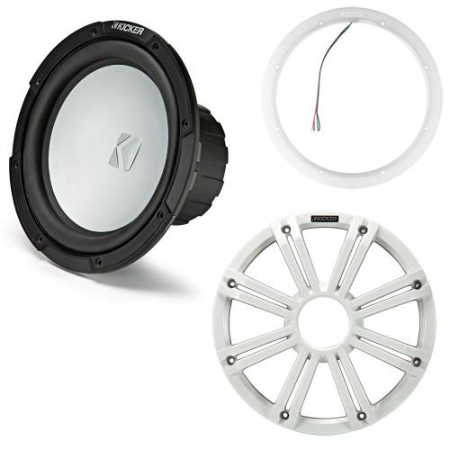 Kicker 45KM104 10 Inch Marine Subwoofer 4 Ohm White Grill with 47KLSR10 10 Led Lighted Speaker Ring