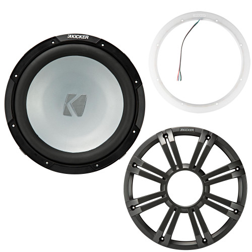Kicker 45KM122 12 Inch Marine Subwoofer 2 Ohm Charcoal Grill with 47KLSR12 Led Lighted Speaker Ring