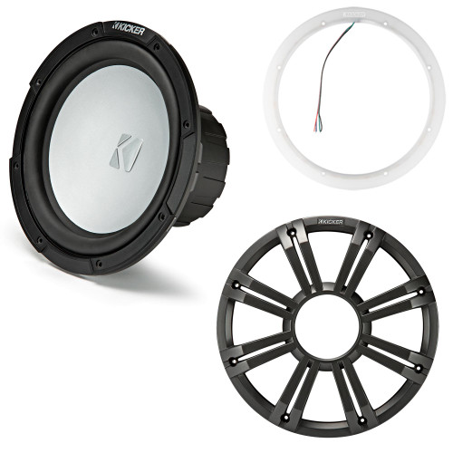 Kicker 45KM104 10 Inch Marine Subwoofer 4 Ohm Charcoal Grill with 47KLSR10 Led Lighted Speaker Ring
