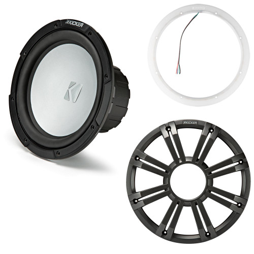 Kicker 45KM102 10 Inch Marine Subwoofer 2 Ohm Charcoal Grill with 47KLSR10 Led Lighted Speaker Ring