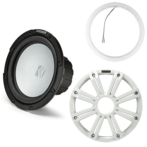 Kicker 45KM102 10 Inch Marine Subwoofer 2 Ohm White Grill with 47KLSR10 10 Led Lighted Speaker Ring
