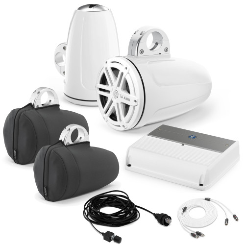"""JL Audio Wake Tower Speaker Package - M400/4 Amp, and MX770-ETXv3-SG-WH 7.7"""" Tower Speakers + Covers, Wire Kit & Knob"""