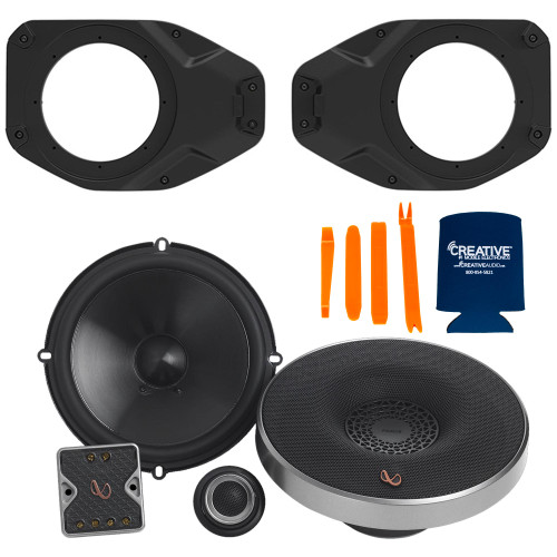 """Infinity PR6510CSAM 6.5"""" Component Speakers With SSV Works JJT-SA065 Speaker Adapters Compatible With Wrangler JL & Gladiator JT"""