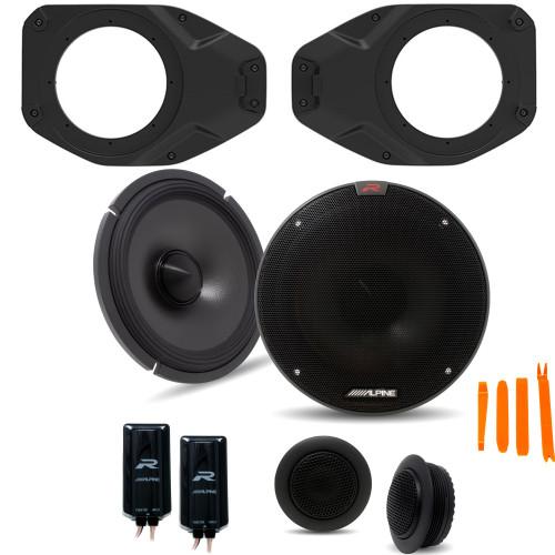 "Alpine R-S65C 6.5"" Component Speakers With SSV Works JJT-SA065 Speaker Adapters Compatible With Wrangler JL & Gladiator JT"