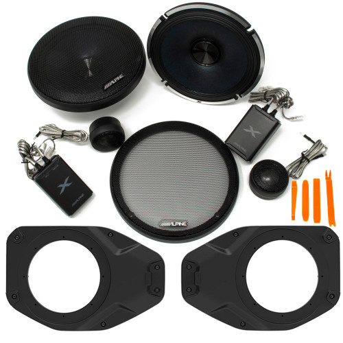 """Alpine X-S65C 6.5"""" Component Speakers With SSV Works JJT-SA065 Speaker Adapters Compatible With Wrangler JL & Gladiator JT"""