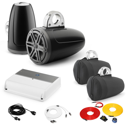 JL Audio Wake Tower Speaker Package includes M400/4, 2 (1 Pair) MX770-ETXv3-SG-TK, Covers, wire kit, RBC volume