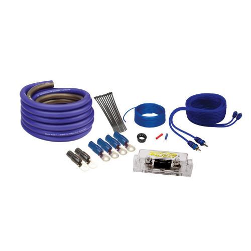 Soundquest SQ600H 8 Gauge Square Hybrid Wiring Kit, Matte Blue - Open Box