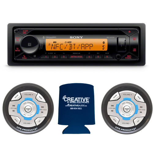 Sony MEX-M72BT Marine CD Receiver with BLUETOOTH and Two CPS SRC2 Wired Marine Remotes for Sony Radios