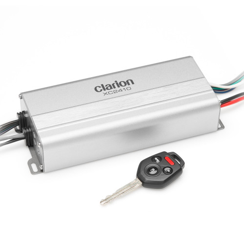 Clarion XC2410 Compact 4-Channel Full-Range Amplifier  Rated Power (1% THD+N, 14.4V):  50W x 4 @ 4 ohms / 75W x 4 @ 2 ohms / 150W x 2 bridged @ 4 ohms Features: variable High-Pass Filters for each channel bank