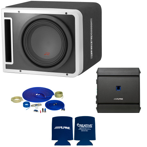Alpine R-SB10V Pre-Loaded R-Series 10-inch Subwoofer Enclosure, S-A60M 600 Watt Mono Amplifier, and Wiring Kit