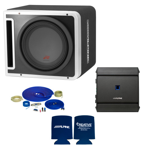 Alpine R-SB12V Pre-Loaded R-Series 12-inch Subwoofer Enclosure, S-A60M 600 Watt Mono Amplifier, and Wiring Kit