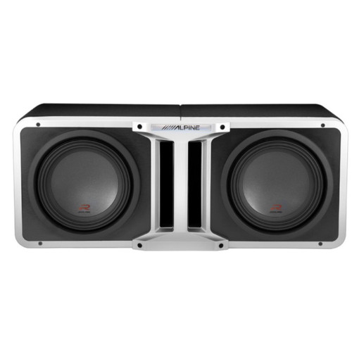Alpine Pair of R-SB10V Pre-Loaded R-Series 10-inch Subwoofer Enclosures, with KTX-H10 Linking kit