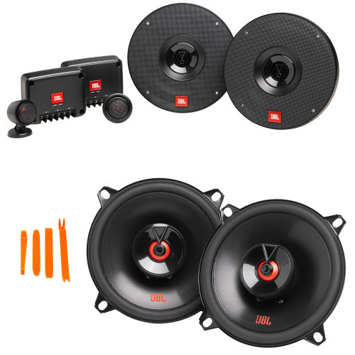 """JBL 1 Pair of CLUB-602CTPAM 6.5"""" Component Speakers with Tweeter Pods and 1 Pair of CLUB-522FAM 5.25"""" Coax Speakers"""