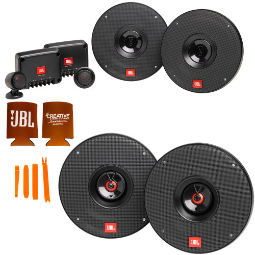 """JBL 1 Pair of CLUB-602CTPAM 6.5"""" Component Speakers with Tweeter Pods and 1 Pair of CLUB-622AM 6.5"""" Coax Speakers"""