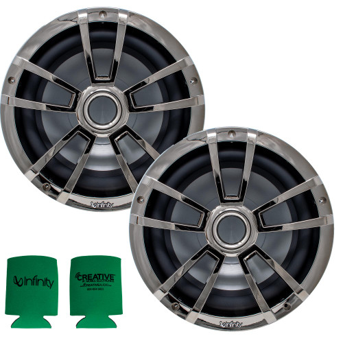 """Infinity 1 Pair of 10MBLCR OEM Replacement Black Chrome 10"""" Marine Subwoofers"""