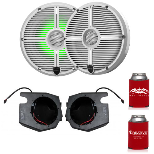 """Wet Sounds RECON 6-XWW RGB 6.5"""" White Grill RGB Marine Speakers with SSV RZ4-F65U 2014+ Polaris RZR Front Kick Pods"""