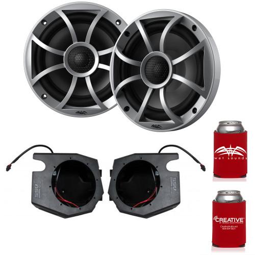 "Wet Sounds RECON 6-S 6.5"" Silver Grill Marine Speakers with SSV RZ4-F65U 2014+ Polaris RZR Front Kick Pods"