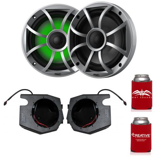 """Wet Sounds RECON 6-S RGB 6.5"""" Silver Grill RGB Marine Speakers with SSV RZ4-F65U 2014-2019 Polaris RZR Front Kick Pods"""