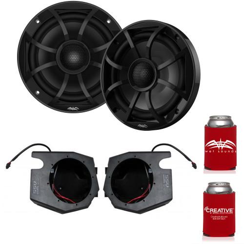 "Wet Sounds RECON 6-BG 6.5"" Black Grill Marine Speakers with SSV RZ4-F65U 2014-2019 Polaris RZR Front Kick Pods"