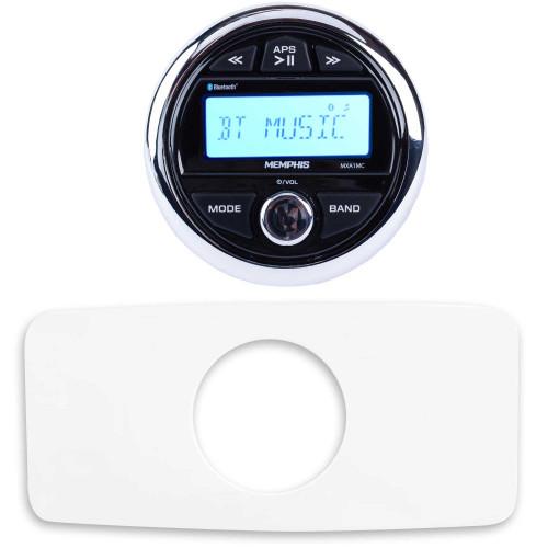 Memphis MXA1MC Gauge Style Media Center AM/FM/BT/AUX/USB With Stinger SEADASH3W White Marine Dash Kit