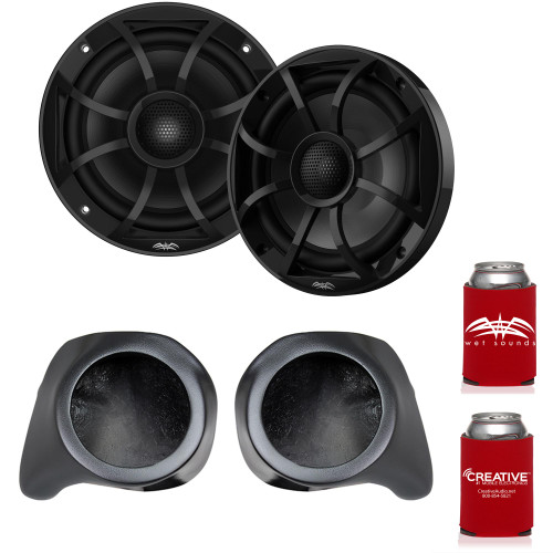 """Wet Sounds RECON 6-BG 6.5"""" Black Grill Marine Speakers with SSV Works YZ-F65U Front Speaker Pods Compatible With Yamaha YXZ1000R 2016+"""