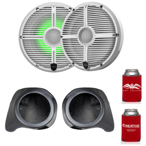 """Wet Sounds Recon6-XWW-RGB 6.5"""" White Grill RGB Marine Speakers with SSV Works YZ-F65U Front Speaker Pods Compatible With Yamaha YXZ1000R 2016+"""