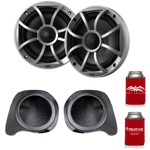 """Wet Sounds Recon6-S 6.5"""" Silver Grill Marine Speakers with SSV Works YZ-F65U Front Speaker Pods Compatible With Yamaha YXZ1000R 2016+"""