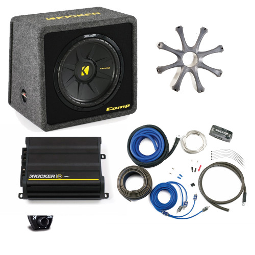 """Kicker Bass package -  12"""" CompS in ported box with CX300.1 amplifier, wiring kit, grille, and bass knob."""