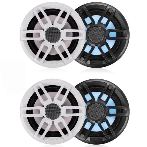 "Fusion 2-Pairs XS-FL65SPGW XS Series 6.5"" 200 Watt RGB Sports Marine Speakers White & Gray Grills Included"