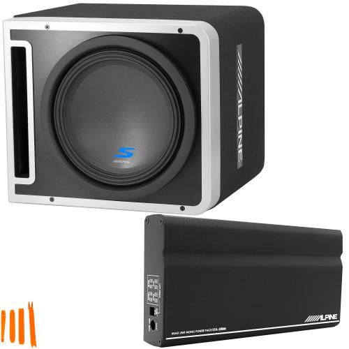 "Alpine S-SB12V 12"" Vented Loaded Halo Enclosure with Alpine KTA-200M PowerStack Amplifier"