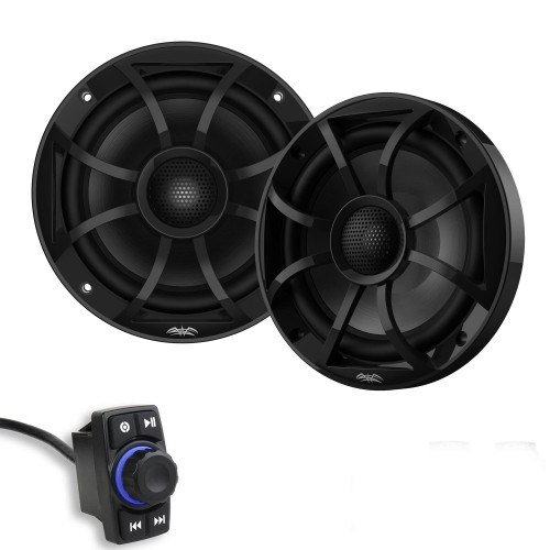 "SSV MRB2R Bluetooth Rocker Switch Audio System 200-Watt Amplifier with 1-Pair Wet Sounds RECON 6-BG 6.5"" Coax Speakers"
